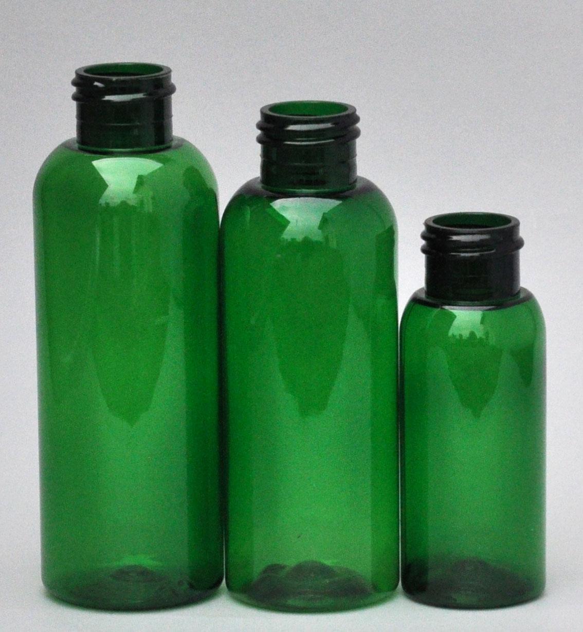 SNEP-50BPETG-50ml Green PET Boston Bottle with 24/410 Neck