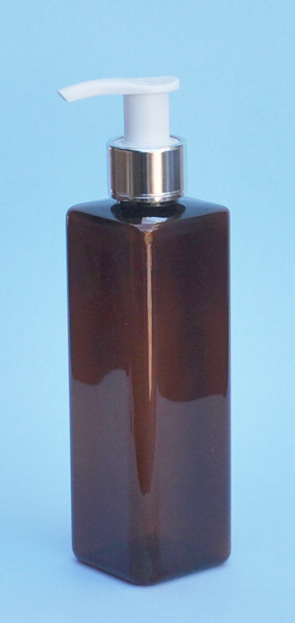 SNSET-THAPETSQ250MSWP-Square PET Bottle Amber Coloured 250ml with Metallic Silver/White 24/410 Pump