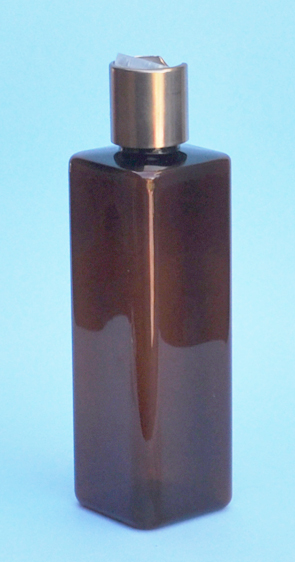 SNSET-THAPETSQ250MCNDL-Square PET Bottle Amber Coloured 250ml with Metallic Copper/Natural 24/410 Disc Top Dispensing Lid
