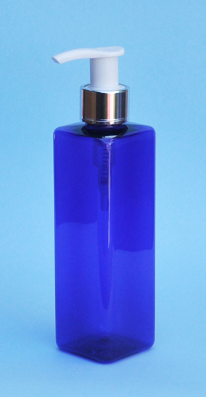 SNSET-THCBPETSQ250MSWP-Square PET Bottle Cobalt Blue Coloured 250ml with Metallic Silver/White 24/410 Pump