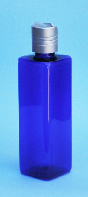 SNSET-THCBPETSQ250MSNDTL-Square PET Bottle Cobalt Blue Coloured 250ml with Metallic Silver/Natural 24/410 Disc Top Dispensing Lid