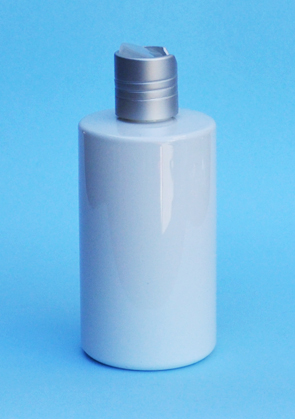 SNSET-THWPETRSQ250MSDTL-250ml White PET Round Bottle with Square Shoulder and a 24/410 Metallic Silver Disc Top Lid