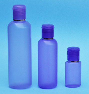 SNSET-THPHDPEB250PFTDL-250ml Translucent Purple HDPE Round Boston Bottle with 24/410 Purple Flip Top Dispensing Lid with Metallic Silver Rim