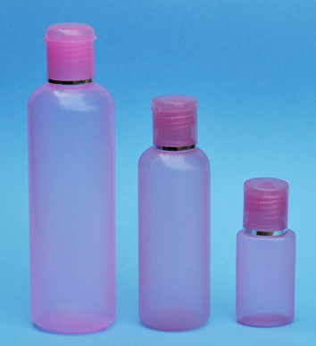 SNSET-THPIHDPEB250PFTDL-250ml Translucent Pink HDPE Round Boston Bottle with 24/410 Pink Flip Top Dispensing Lid with Metallic Silver Rim