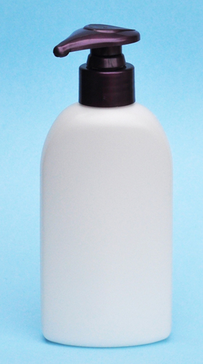 SNSET-23761PP-6Oz White HDPE Flat Sided Oval Bottle with 24/410 Purple Pump