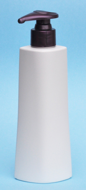 SNSET-25864PP-6Oz White HDPE Ocular Tapered Oval Bottle with 24/410 Purple Pump