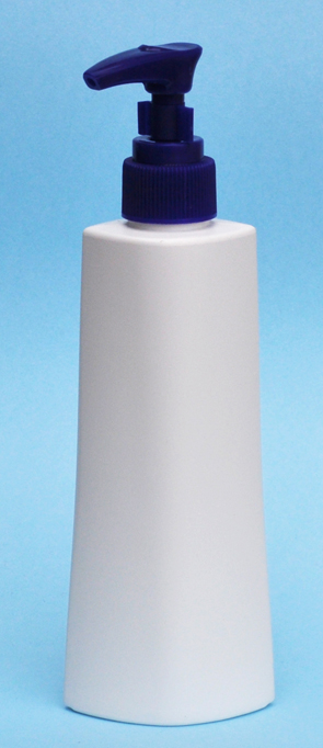 SNSET-25864BP-6Oz White HDPE Ocular Tapered Oval Bottle with 24/410 Blue Pump