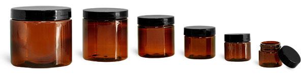 SNJARABL-0609-27-1 Oz (28.4g) Plastic Jar, Amber PET Straight Sided Jar (42mm H 41mm Dia) with 38/400 Black Smooth Plastic Lined Cap-1 Oz