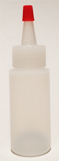 SNSB1OZCYRTYC- 1 Oz (~29.6ml) Natural Squeezer Cylindrical Bottle with square shoulder with Red Tipped Yorker Cap