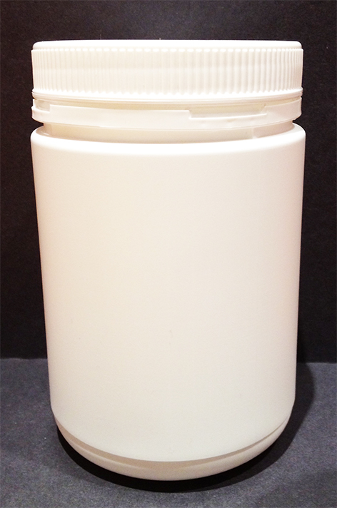 1000ml White HDPE Tall Round Jar with 95mm Tamper Evident Screw Lid