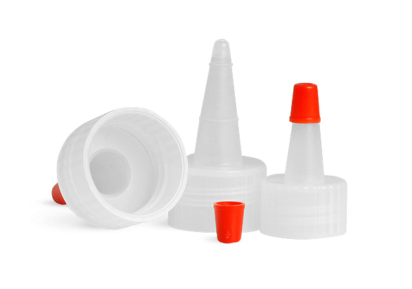 SNDD-2542-Natural LDPE Yorker Spout Cap (no hole) with an attached red tip-for 28/410 neck sizes