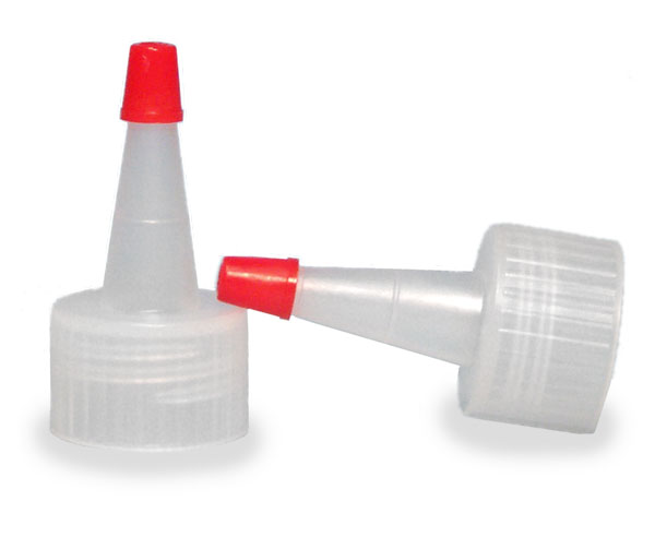 SNDD-2541-04-Natural LDPE Yorker Spout Cap with an attached red tip-for 20/410 neck sizes