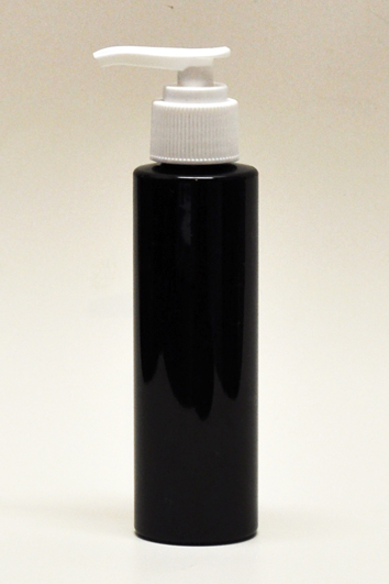 SNSET-4CYPETBWP-4Oz (118ml) Black PET Cylindrical Bottle with White Pump 24/410