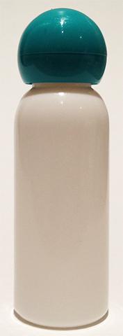 SNSET-BPET30WAQDL-30ml White PET Boston Bottle with Dark Aqua Domed Lid
