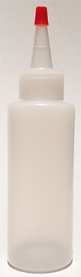 SNSB4OZCYNYLRT-4 Oz (~118ml) Natural Squeezer Cylindrical Bottle with square shoulder with Natural Yorker Lid with red cap tip