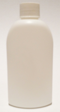 SNSET-23761FRL-6Oz White HDPE Flat Sided Oval Bottle with 24/410 White Fine Ribbed Continuous thread Screw top Lid