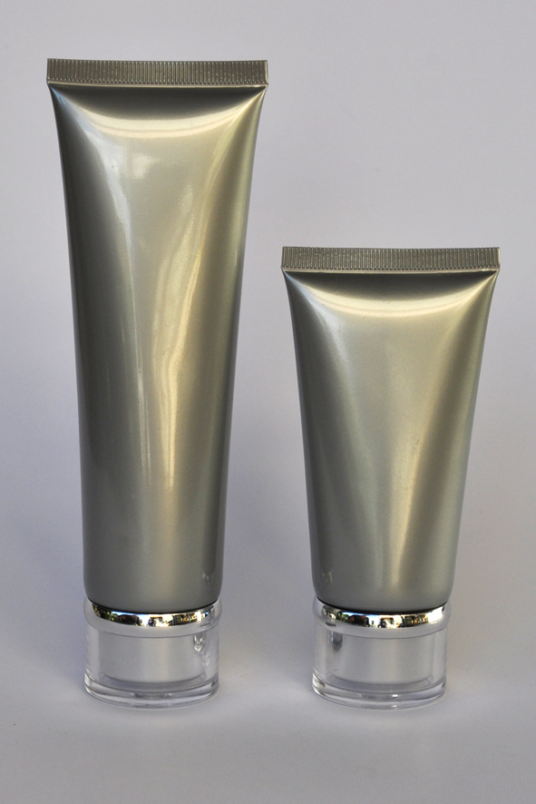 SNET-50STSC-Pre Sealed Plastic Tube Silver 50g + Silver Cap Ø35, Clear Overcap and Metallic Silver Rim