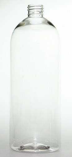 SNEP-50994-1000ml Clear PET Tall Boston Bottle 28mm 410 Finish-235mm tall, 84mm dia