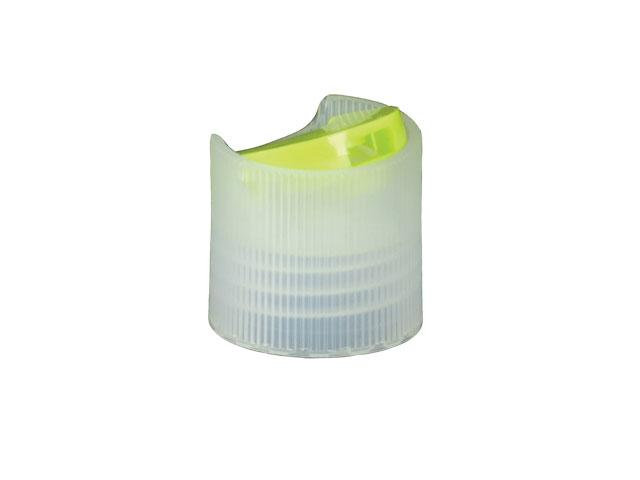 """SNDD-26997-LIME GREEN/NATURAL DISPENSING CAP, FINE RIBBED DISC-TOP CLOSURE WITH A 28/410 FINISH AND A .340"""" ORIFICE"""