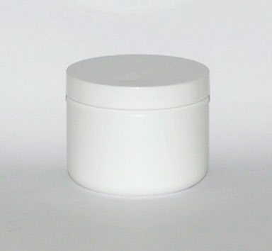 SNSETJW14-14Oz (414ml) White Plastic Jar with White 89/400 Lid (Flat)