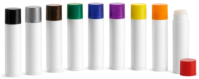 SNLIPWB0805-19-0.15Oz (4.4ml) White Cylindrical Lip Balm Tube (67mm Height 16mm Dia) with Blue Cap