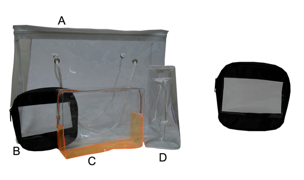 B-PC1002-Rectangular Zippered Gift Bag-Black Border with 0.2mm thickness Clear PVC Window Overall Size 14.2x13.5x4cm