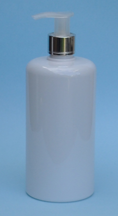 SNSET-THWPET500RSQMSNP-White PET Round bottle with Curved Square shoulder with 24/410 Metallic Silver/Natural Pump