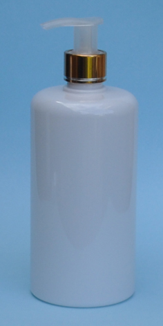 SNSET-THWPET500RSQMGNP-White PET Round bottle with Curved Square shoulder with 24/410 Metallic Gold/Natural Pump