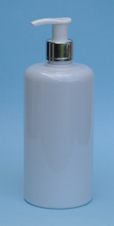 SNSET-THWPET500RSQMSWP-White PET Round bottle with Curved Square shoulder with 24/410 Metallic Silver/White Pump
