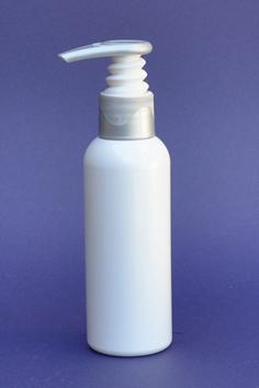 SNSET-50WBPETWSP-100ml White Boston PET Bottle with White/Silver Pump 24/410