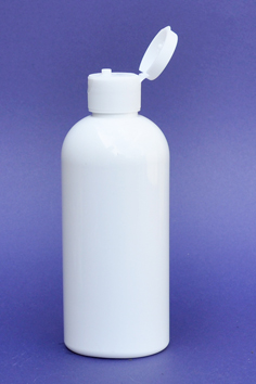 SNSET-250WBPETWFTL-250ml White Boston PET Bottle with Fine Ribbed White Flip Top Lid 24/410