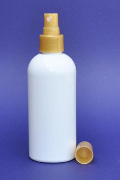 SNSET-250WBPETSGFMS-250ml White Boston PET Bottle with Smooth Gold Fine Mist Sprayer 24/410