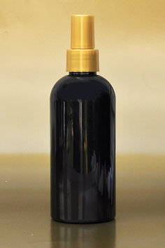 SNSET-250BBPETSGFMS-250ml Black Boston PET Bottle with Smooth Gold Fine Mist Sprayer 24/410