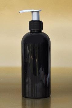SNSET-250BBPETBSFRP-250ml Black Boston PET Bottle with Black/Silver Fine Ribbed Pump 24/410