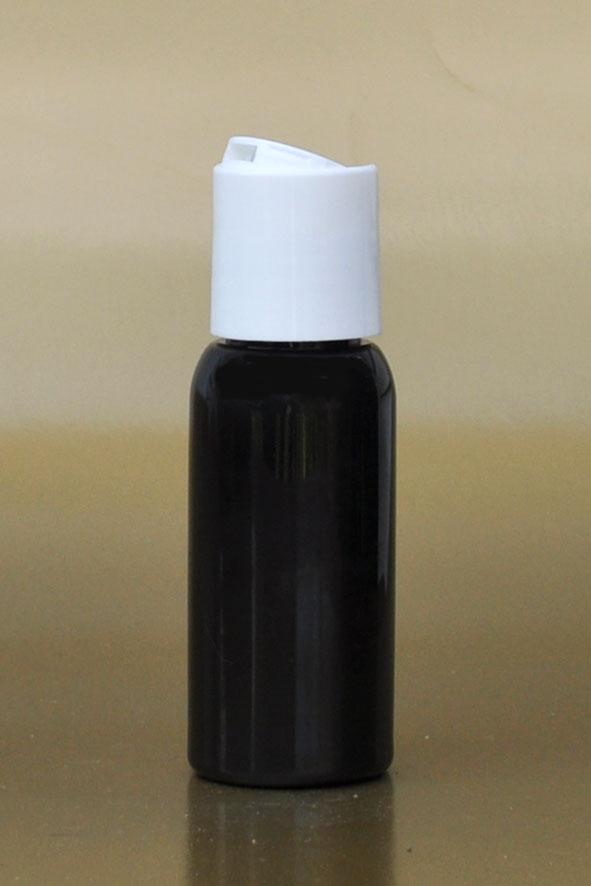SNSET-50BBPETWDTL-50ml Black Boston PET Bottle with White Disc Top Lid 24/410