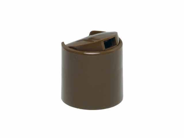"""SNDD-26112-CHOCOLATE BROWN DISPENSING CAP, SMOOTH DISC-TOP CLOSURE WITH A 28/410 FINISH AND A .330"""" ORIFICE"""