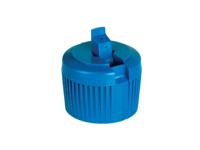 """SNDD-27246-BLUE DISPENSING CAP, RIBBED TURRET STYLE CLOSURE WITH A 28/410 FINISH AND A .031"""" ORIFICE"""