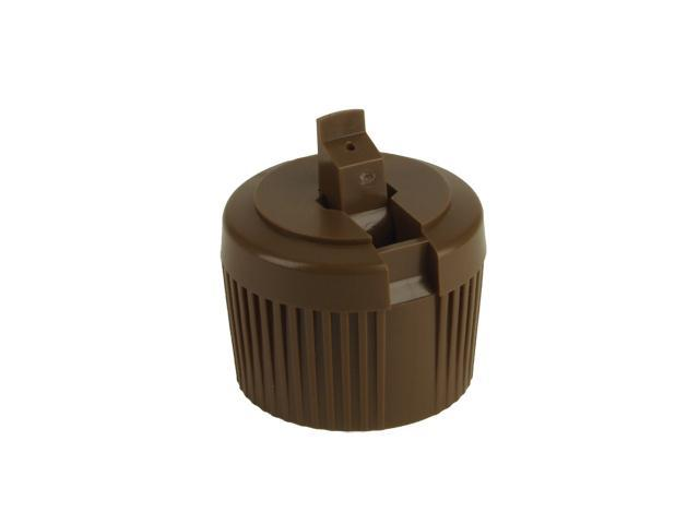 """SNDD-28132-CHOCOLATE BROWN DISPENSING CAP, RIBBED TURRET STYLE CLOSURE WITH A 28/410 FINISH AND A .040"""" ORIFICE"""