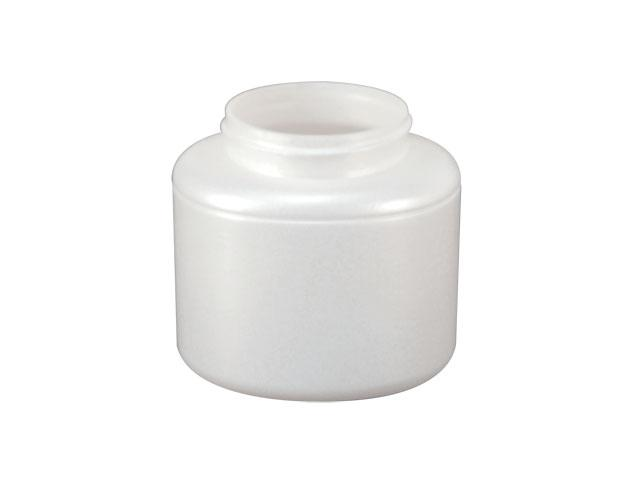 SNEJ-24088-PLASTIC JAR, PEARL WHITE, 400 ML FOOTED SINGLE WALL OVAL WITH A 63MM FINISH, ROUND BASE