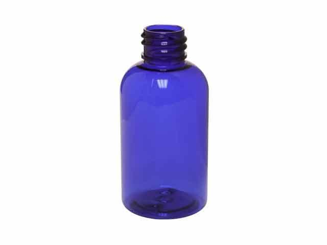 SNEP-50PETCOBL-PLASTIC BOTTLE, 50ml PET BOSTON ROUND WITH A 24/410 FINISH-Cobalt Blue