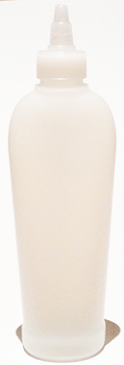 SNSB-25494-NATURAL PLASTIC BOTTLE, 200 ML HDPE REVERSE TAPERED OVAL WITH A 24/410 FINISH, FOOTED with Natural Twist Top Dispensing Lid