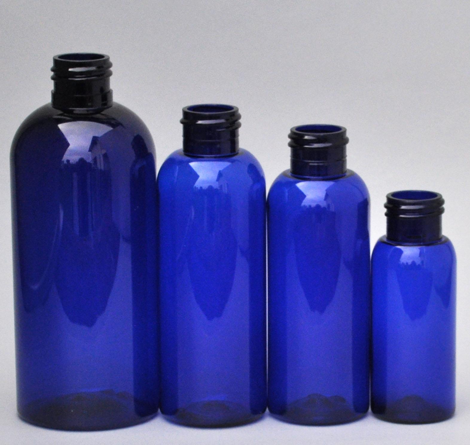 SNEP-250BPETCB-250ml Cobalt Blue PET Boston Bottle with 24/410 Neck