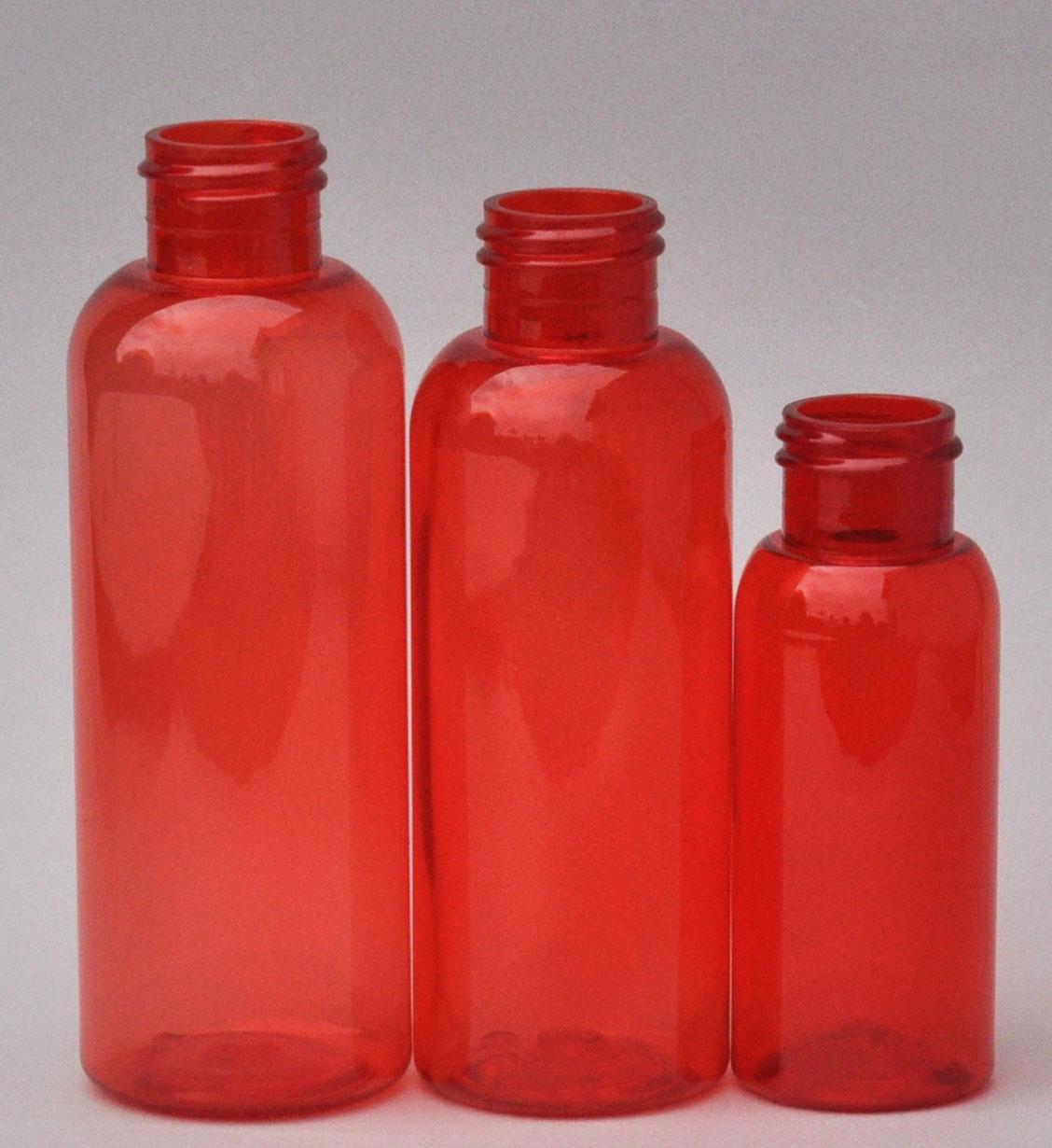 SNEP-100BPETR-100ml Red PET Boston Bottle with 24/410 Neck