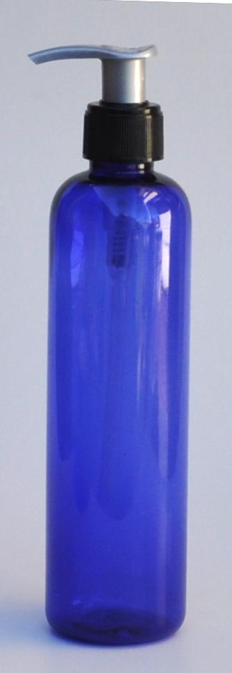 SNSET-THCB250PETBBP-250ml PET Boston Bottle Cobalt Blue with Black Plastic Pump