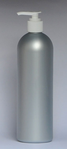 SNSET-28333B-16 OZ. SILVER HDPE BULLET WITH A 24/410 WHITE FINE RIBBED PUMP