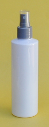 SNSET250TRSQWSFMS-250ml White PET Tall Round Bottle with Square Shoulder and 24/410 Silver Fine Mist Sprayer