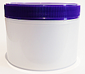 SNEJ-DWN180- Double Walled Natural Round Jar 180ml with Matching Purple ribbed lid
