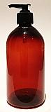 SNSET500ABBPETFRBP-500ml Amber Bell Boston PET Bottle with 28/410 Black Fine Ribbed Pump
