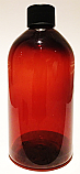 SNSET500ABBPETBFRCTSTL-500ml Amber Bell Boston PET Bottle with 28/410 Black Fine Ribbed Continuous Thread Screw Top Lid
