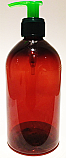 SNSET500ABBPETFRGP-500ml Amber Bell Boston PET Bottle with 28/410 Green Fine Ribbed Pump